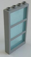 LEGO - Fenster / Window, hellgrau mit Fenster Glas, transp. hellblau # 57894c01