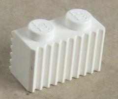 LEGO - Stein / Brick 1 x 2 mit Grill / Rillen (10 Stück), weiß # 2877