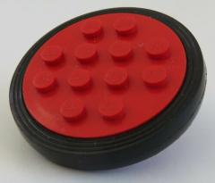 LEGO - Rad / Felge, rot mit 12 Noppen und Reifen, schwarz, # 715c01