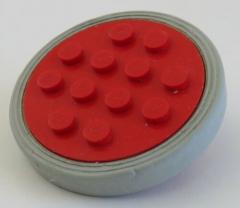 LEGO - Rad / Felge, rot mit 12 Noppen und Reifen, hellgrau, # 715c02