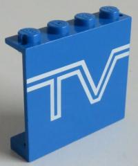 LEGO - Paneel 1 x 4 x 3 bedruckt mit  TV, blau # 4215ap09