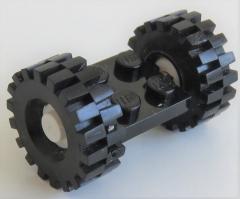 LEGO - 2 x 2 Platte / Achse mit 2 Räder 21 mm D x 9 mm (2 Stück), schwarz, # 122c02assy3