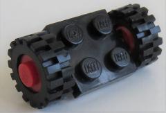 LEGO - 2 x 2 Platte / Achse mit 2 Räder 15 mm D x 6 mm (4 Stück), schwarz, # 122c01assy2