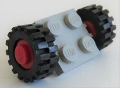 LEGO - 2 x 2 Platte / Achse mit 2 Räder 15 mm D x 6 mm (4 Stück), hellgrau, # 122c01assy2