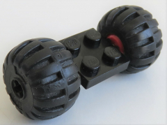LEGO - 2 x 2 Platte / Achse mit 2 Ballon Räder  (2 Stück), schwarz, # 122c01assy4