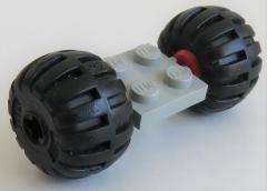 LEGO - 2 x 2 Platte / Achse mit 2 Ballon Räder  (2 Stück), hellgrau, # 122c01assy4