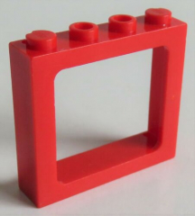 LEGO - Rahmen / Frame Fensterrahmen 1 x 4 x 3 Zug, rot # 6556
