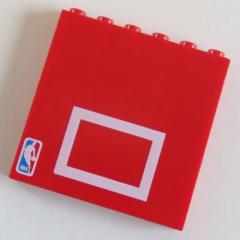 LEGO Stein / Brick  1 x 6 x 5 (2 Stück), rot, NBA, Baskettball # 3754pb05