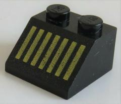 LEGO - Dachstein / Slope 45  2 x 2 bedruckt gelbe Streifen, schwarz # 3039p10