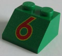 LEGO - Dachstein / Slope 45  2 x 2 bedruckt rote 6, grün # 3039pb011