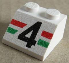 LEGO - Dachstein / Slope 45  2 x 2 bedruckt schwarze 4, weiß # 3039pb006