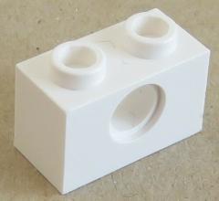 LEGO Technic - Stein / Brick 1 x 2 ( 10 Stück ), 1 Loch, weiß # 3700