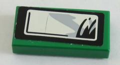 LEGO - Fliese / Tile 1 x 2 mit Seitenspiegel Sticker, rechts, grün # 3069bpb060R