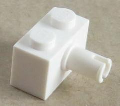 LEGO - Stein / Brick 1 x 2 mit Pin (10 Stück), weiß # 2458