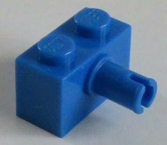 LEGO - Stein / Brick 1 x 2 mit Pin (10 Stück), blau # 2458