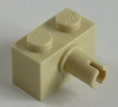 LEGO - Stein / Brick 1 x 2 mit Pin (8 Stück), beige # 2458