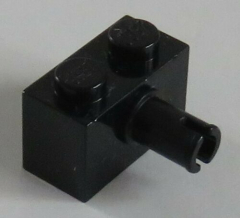 LEGO - Stein / Brick 1 x 2 mit Pin (6 Stück), schwarz # 2458