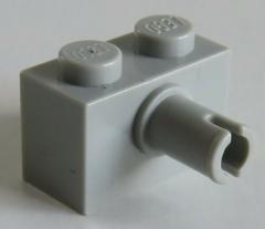 LEGO - Stein / Brick 1 x 2 mit Pin (8 Stück), hellgrau # 2458