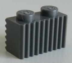 LEGO - Stein / Brick 1 x 2 mit Grill / Rillen (10 Stück), dunkel blaugrau # 2877