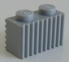 LEGO - Stein / Brick 1 x 2 mit Grill / Rillen (4 Stück), hell blaugrau # 2877