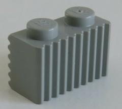 LEGO - Stein / Brick 1 x 2 mit Grill / Rillen (4 Stück), hellgrau # 2877