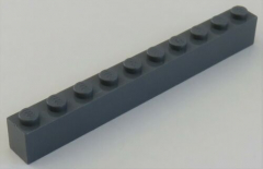 LEGO - Stein / Brick 1 x 10, dunkel blaugrau # 6111