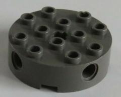 LEGO - 2 x Stein / Brick 4 x 4 rund mit 4 Pin u. 1 Achs Loch, dunkel grau # 6222