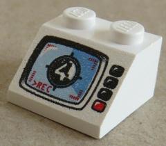 LEGO - Dachstein / Slope 45  2 x 2 bedruckt Video Testbild, weiß # 3039px7