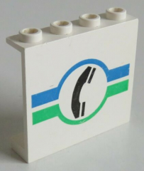 LEGO - Paneel 1 x 4 x 3 bedruckt mit  Telefon, weiß # 4215bpx18