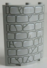 LEGO - Paneel / Cylinder Quater 4 x 4 x 6 als Steinmauer , hellgrau # 30562px1