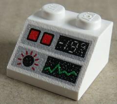 LEGO - Dachstein / Slope 45  2 x 2 bedruckt Kontroll Monitor, weiß # 3039px37