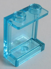 LEGO - 2 x Paneel 1 x 2 x 2 mit seitl. Verstärkung, transp. hellblau # 87552